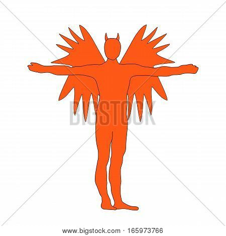 Angel Of Darkness Red Silhouette Icon Symbol Design. Vector Illustration Isolated On White Backgroun