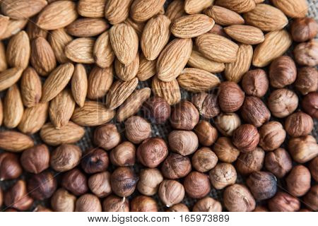 background filled with a mixture of nuts, hazelnuts and almonds separately diagonally