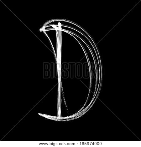 The letter D - written with light at night