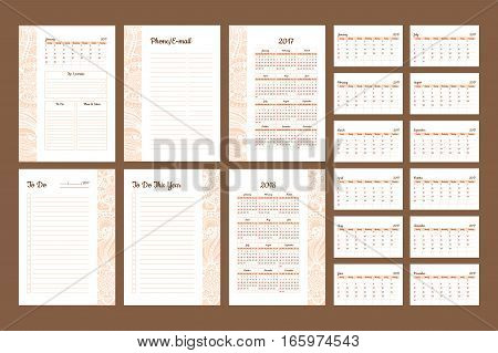 Set of Calendar 2017 Daily Planner Template with Pages 2017 and 2018 years. To Do List Paper A4 Format. Business Style Vector Illustration. Organizer and Schedule with Place for Notes and Checklists