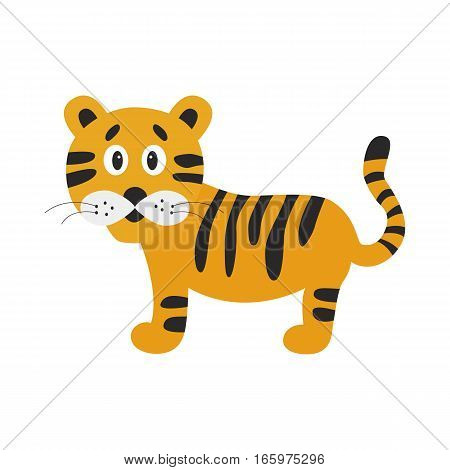 Cartoon cute tiger. Funny flat design vector illustration for children's books posters clothes alphabet cards.