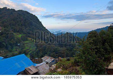 Nice view of Ghorepani lodge in Himalayas, Nepal
