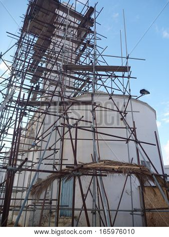 Church In Kyrenia In Cyprus Under Reconstruction