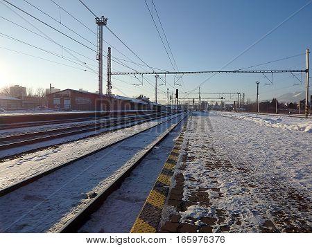 rail , railway , railroad  Winter Railway Tracks