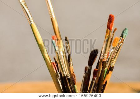 Old Dirty Used Paintbrushes