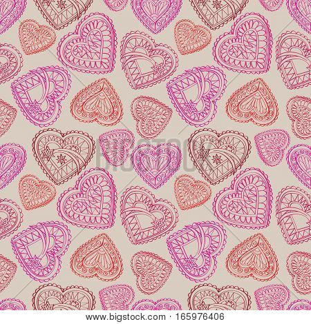 Love Hearts Seamless Pattern. Abstract Lacy Vintage ornament with hearts, flower bouquets, bow. Holiday Background. Good for birthday greeting, Valentine's day, Wedding, Party