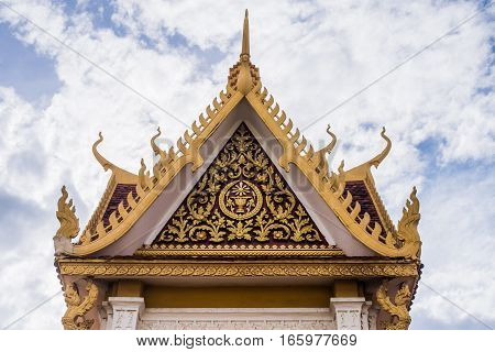 Front view of roof architecture in the temple of thailand