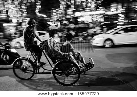 Abstract Movement Of Cyclo Driver In Vietnam