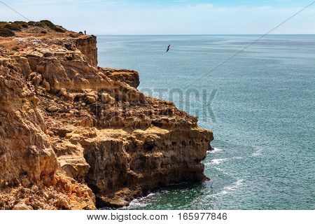 Algarve coast sand cliffs seashore coastal scenery Portugal