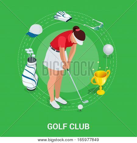 Golf club concept. Isometric golfer and apparel. Sport design elements. Flat vector golf set app. Golf stuff. Golf bag, golf car, golf course, golf ball