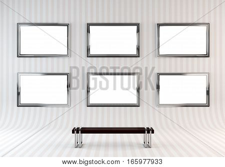 Gallery Interior with empty frame on wall and bench. 3D rendering.