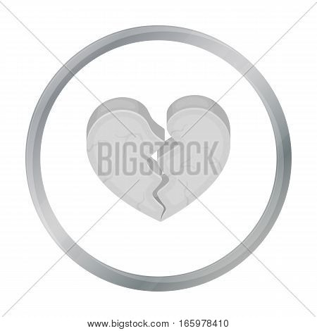 Broken Heart icon in cartoon style isolated on white background. Romantic symbol vector illustration.