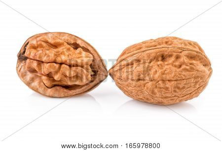 Isolated walnut. Two halves of walnuts isolated on white background