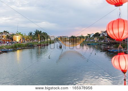 Riverscape In Sunset At Hoi An Town World Heritage Unesco
