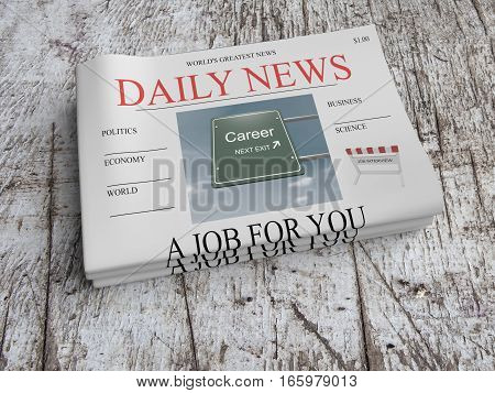 US Business Concept: Pile of Newspapers A Job For You On Scratched Old Wood 3d illustration
