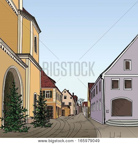 Street in old city. Cityscape - houses, buildings and tree on alleyway. Old city view. Medieval european castle landscape. Pencil drawn engraving. Retro colored sketch