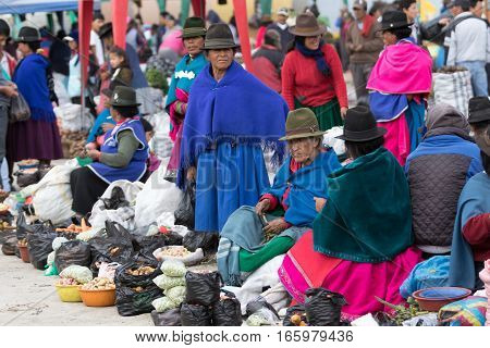 July 24 2016 Alausi Ecuador: indigenous kichwa people in the local produce market which is held on Saturdays