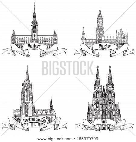 Geman city travel label set. Hamburg Munich Koln Frankfurt am Main Gemany Europe. Hand drawn vector town symbol set.