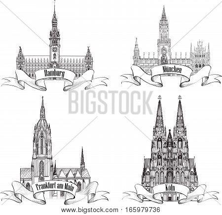 Geman city travel label set. Hamburg, Munich, Cologne, Frankfurt am Main. Gemany Europe. Hand drawn famous german architectural national symbol set.