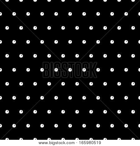 Abstract vector polka dot pattern with hand drawn dots. Cute black and white polka dot pattern. Seamless monochrome polka dot pattern for fabric, wallpapers, wrapping paper, cards and web backgrounds.