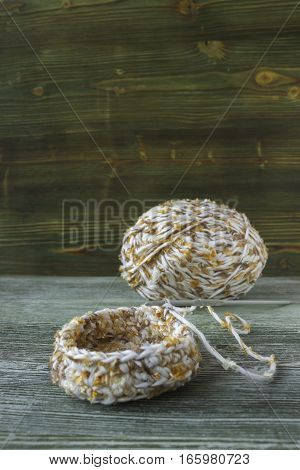 The beginning of cotton crochet box the ball of yarn and crochet hook