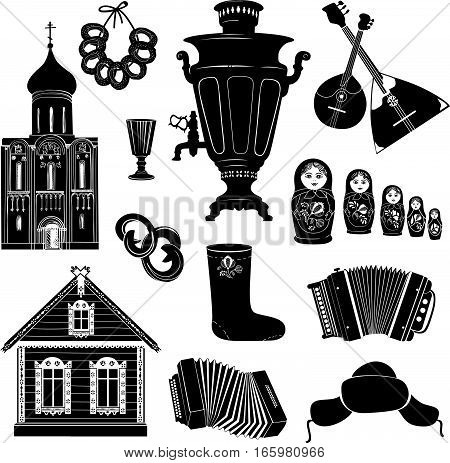 Russian icons. Hand drawing silhouette symbols. Famous landmark object collection. Discover Russia Travel sign set.