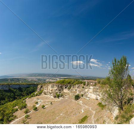 Landscape view on the plateau of Chufut-Kale. Crimea Russia