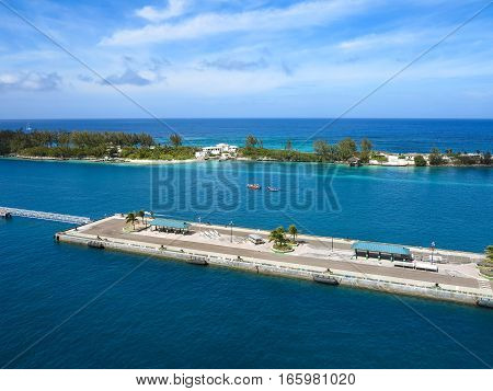 A dock for cruise ships in the caribbean