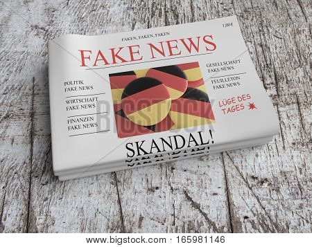 German Media Concept: Pile of Newspapers Fake News On Scratched Old Wood 3d illustration