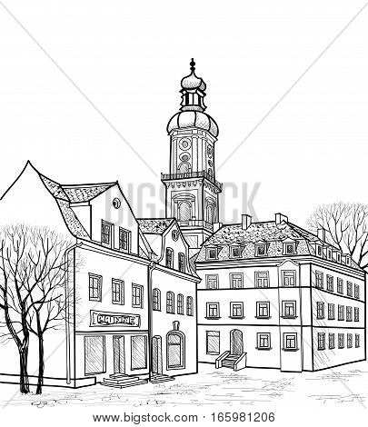 Street in old city. Cityscape - houses, buildings and tree on alleyway. Old city view. Medieval european castle landscape. Pencil drawn engraving sketch