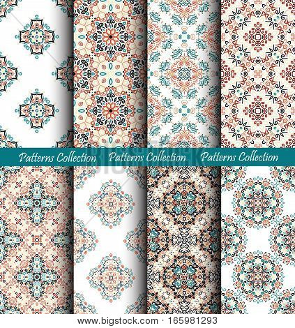 Brown blue backgrounds set. Stylized flower seamless patterns. Colorful weave floral ornament vector. Intricate luxury decoration. Flourish furniture fabric print, wallpaper. Interior design elements.
