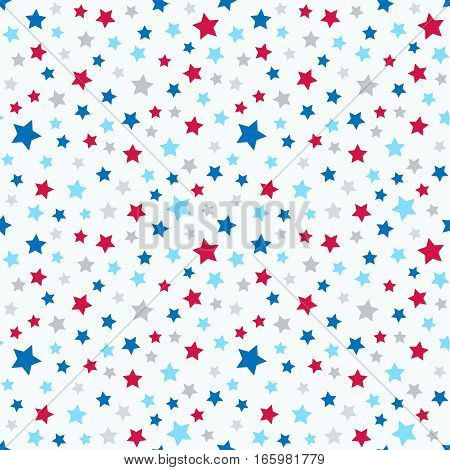 Cute background for kids - bright colorful stars on clear sky. Seamless vector pattern. American stars pattern in red blue white gray.