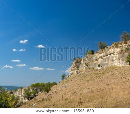 The Crimean mountains. Landscape view on the plateau of Chufut-Kale. Crimea Russia