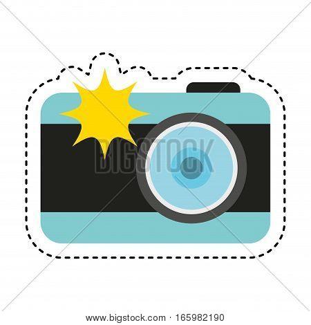 photographic camera with flash icon vector illustration design