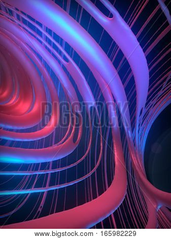 Abstract pink and purple art streaks effect background. 3d rendering