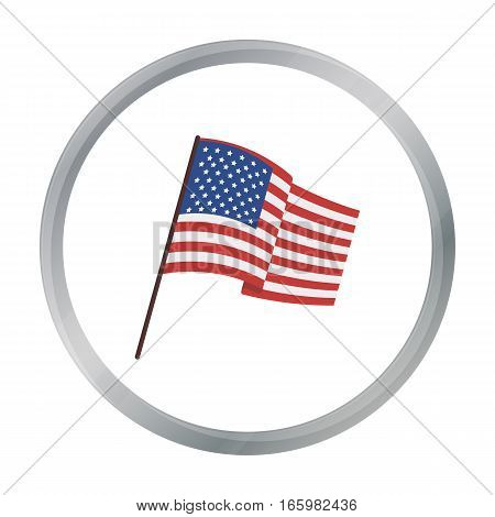 Flag of the United States icon in cartoon style isolated on white background. USA country symbol vector illustration.