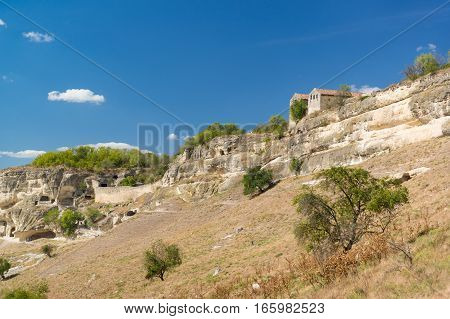 Cupations the southern slopes of the plateau and the medieval Karaite kenesa of the city-fortress Chufut-Kale. Bakhchysaray Crimea Russia