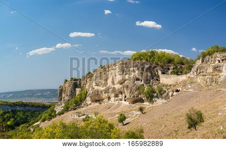 Hollowed out of the rock at the South gate of the medieval town-fortress Chufut-Kale. Bakhchysaray Crimea