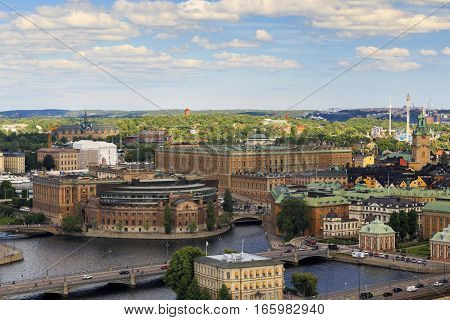 STOCKHOLM, SWEDEN - JUNE 27, 2016: This is aerial view of the main Swedish government building: Riksdag (Swedish Parliament) and Royal Palace.