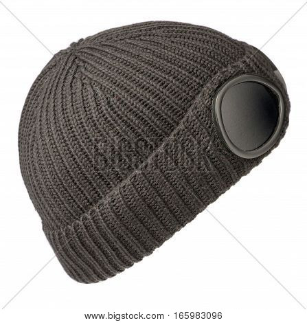 Hat Isolated On White Background .knitted Hat .gray Hat .