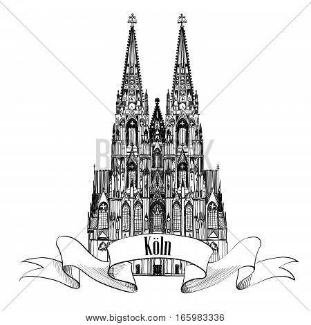 Cologne city sign.Koln symbol. Travel Germany background. Famous german cathderal building, architectural engraved landmark.
