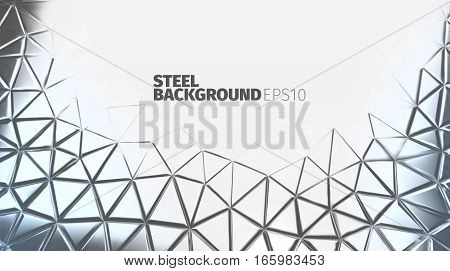 Steel triangular background. Vector silver banner. Iron strong backdrop