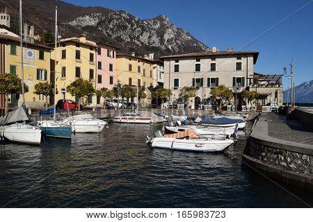 Boats moored in the small port of Bogliaco on Lake Garda - Brescia - Lombardy - Italy