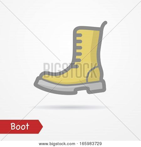 Typical simplistic army boot in yellow desert color. Heavy shoe isolated icon in flat line style with shadow. Military and clothes vector stock image.