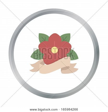 Flower tattoo emblem icon cartoon. Single tattoo icon from the big studio cartoon. - stock vector