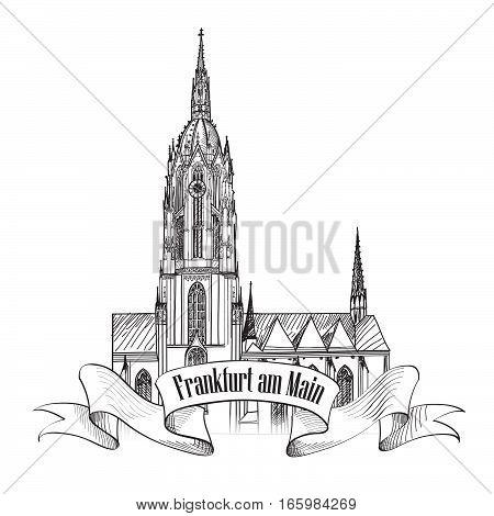 Cathedral Römerberg Frankfurt am Main  city sign. Frankfurt symbol. Travel Germany background. Famous german cathderal building, architectural engraved landmark.