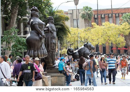 October 16 2016 Medellin Colombia: the Plaza Botero named after the creator of the statues is crowded by tourists in the weekends