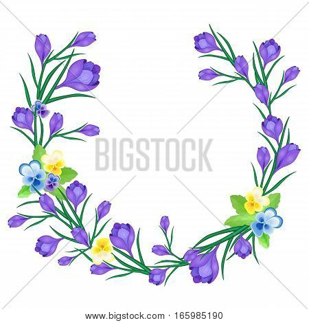 Vector illustration with Crocus or saffron and pansies. An floral wreath of purple flowers. Can be used as greeting cards, wedding invitations, birthday, spring or summer holiday, festival, celebration.