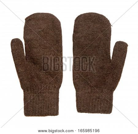 Mittens Isolated On White Background. Knitted Mittens. Mittens Top View.brown Mittens .