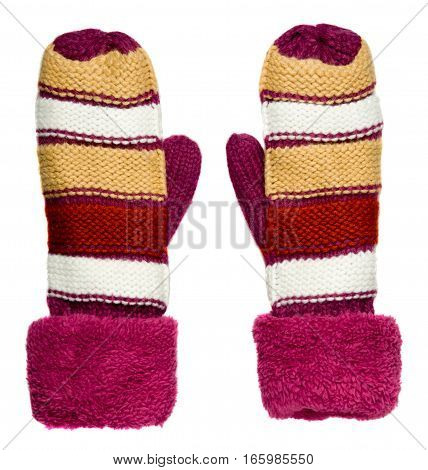 Mittens Isolated On White Background. Knitted Mittens. Mittens Top View. Beige Pink Beige And White